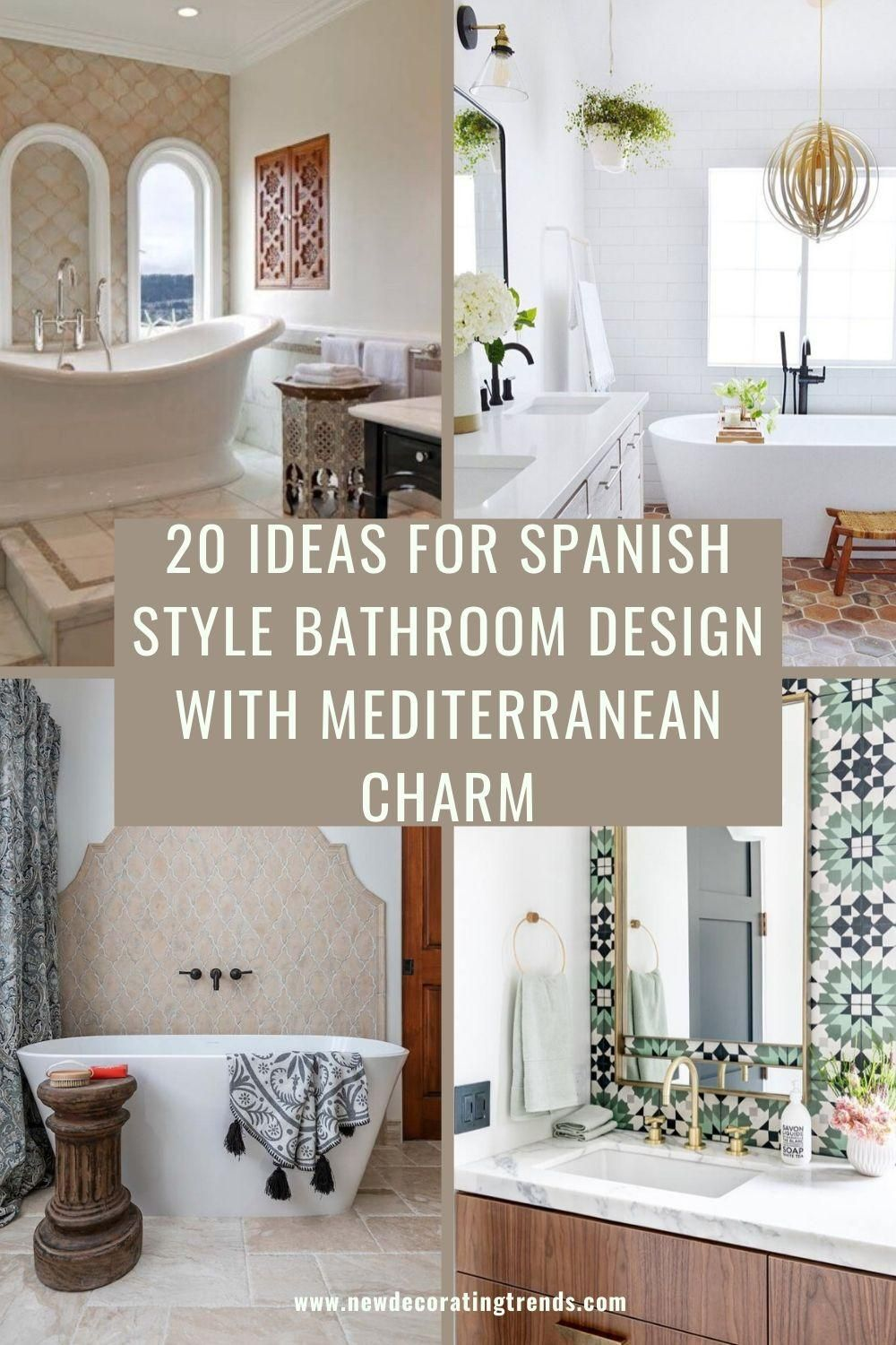 20 Ideas For Spanish Style Bathroom Design With Mediterranean Charm Spanish Style Bathrooms Spanish Style Kitchen Bathroom Styling