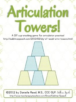This popular DIY from http://sublimespeech.com/2012/02/diy-of-week-artic-towers.html has received a facelift!In this newly revised document you receive:2 ready-made labels for /r/ and /s/ Articulation Towers1 ready-made list of words for /r/ and /s/ Articulation Towers2 editable labels for creating your own tower set1 editable word list for creating your own tower setPlease utilize the link above to learn more about creating and using the Articulation Towers freebie!