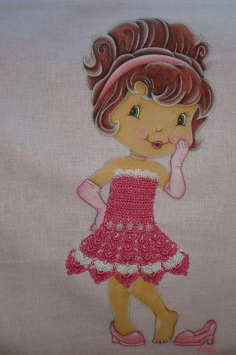 Pintura em tecido e crochê - Boneca charmosa. | Flickr – Compartilhamento de fotos!