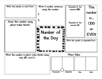 Second Grade Number Of The Day Worksheet Second Grade Math