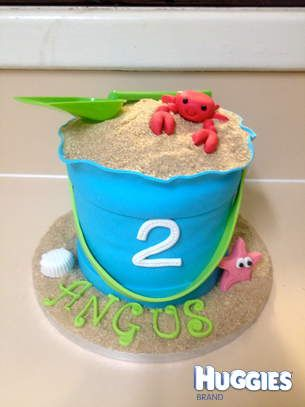 Sandbucket cake for two year old boy all decorations edible except