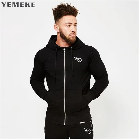 Men Gyms Fitness Bodybuilding Hoodies Casual Fashion Jacket Zipper Sportswear