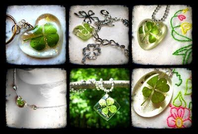 Next crafty project!! Jewelery Resin + all my 4 leaf clovers= Lucky charms