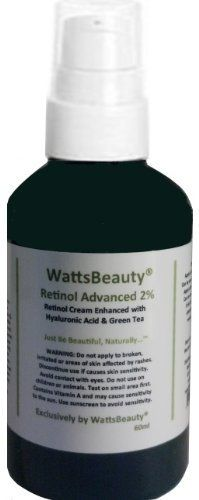 Watts Beauty 2% Retinol - Vitamin A - Antioxidant Moisturizer - 97% Natural / 71% Organic - 2oz by Watts Beauty. $19.45. Watts Beauty Trusted Company and Quality Ingredients. The Ideal Blend of 2% Retinol and Hyaluronic Acid Helps to Protect and Moisturize. No Parabens or Unecessary Filler, 97% Natural and 71% Organic. Vitamin A boasts a long list of clinically proven restorative, anti-aging properties. A powerful cocktail of antioxidants combine with Vitamin A...