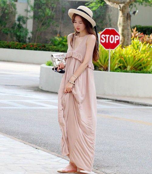 Korean casual maxi dress