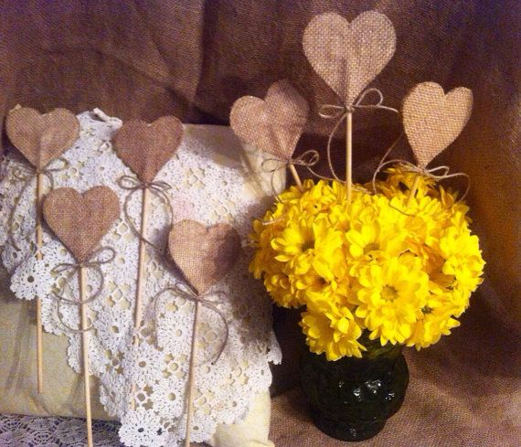 Burlap hearts on a stick for rustic wedding by HandmadeWithHeartD