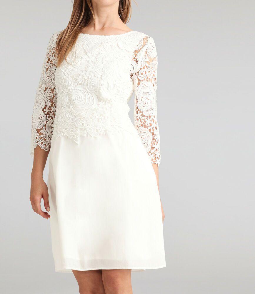APART Brautkleid Standesamt Spitzenkleid Damenkleid Hochzeit creme