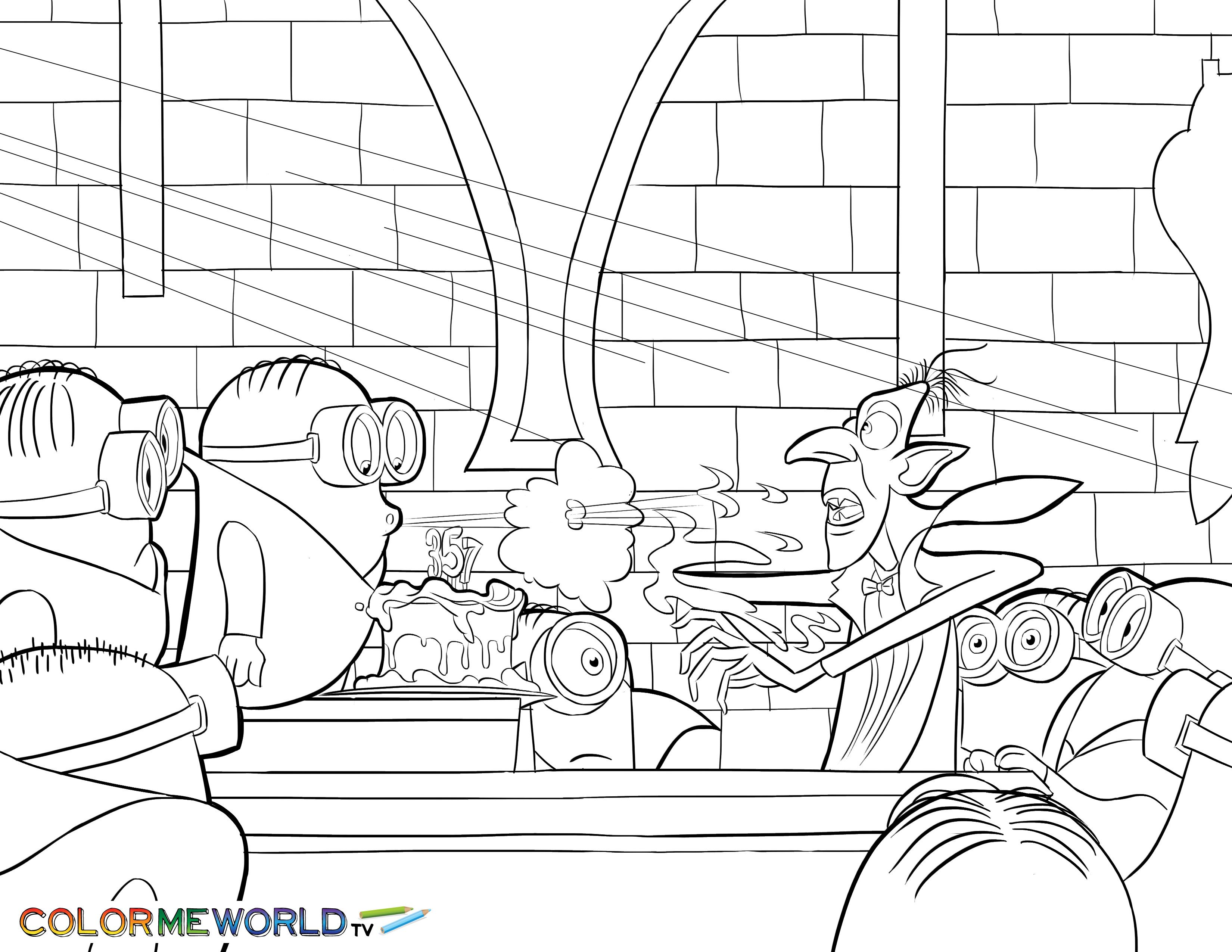 Minions With Dracula Pdf Printable Coloring Page Minions