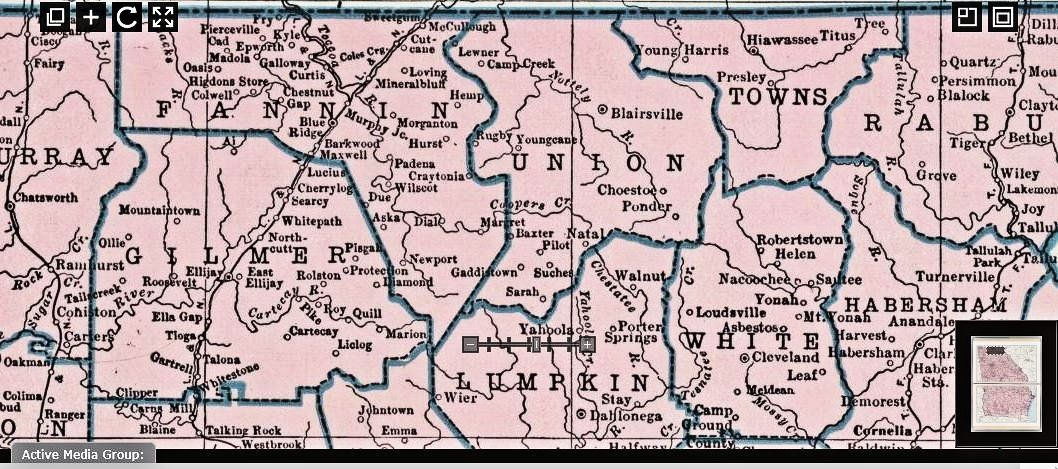 1948 North GA map showing Fannin, Gilmer, Union, Lumpkin, Towns ...