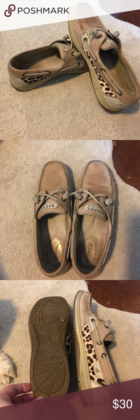 Tan & leopard Sperry topsiders Tan leather Sperry deck shoes with leopard print horse hair accents. Size 8.5m. Good used condition; pre-broken in. Some obvious wear, but tons of life left. Sperry Top-Sider Shoes Flats & Loafers