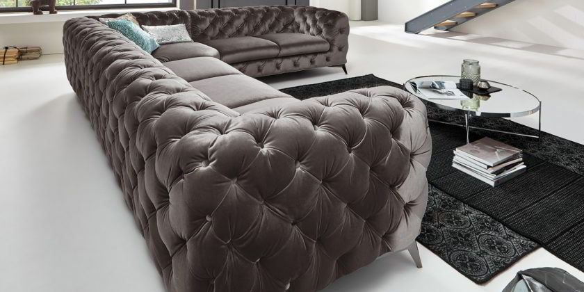 Chesterfield Ecksofa Big Emma Samt Silber Grau Moderne Barock Mobel L Form Chesterfield Ecksofa Ecksofa Chesterfield Mobel