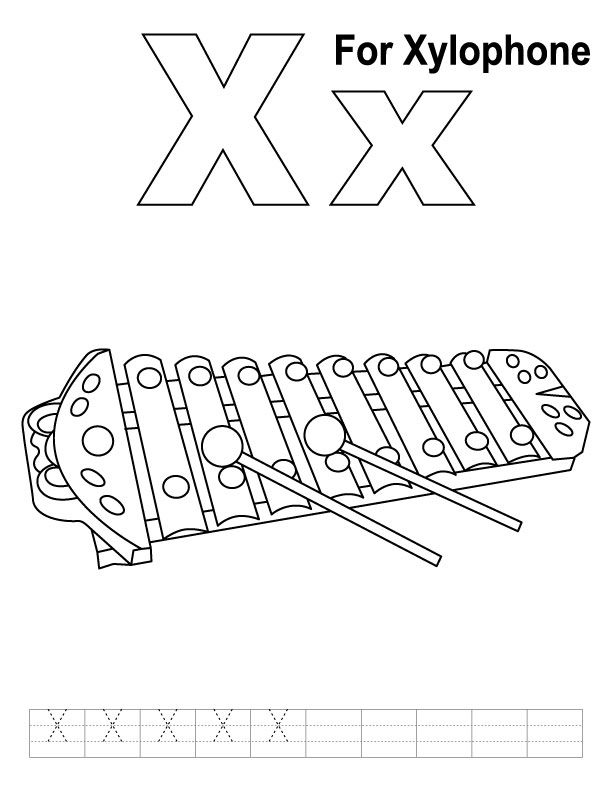 X For Xylophone Coloring Page With Handwriting Practice Alphabet