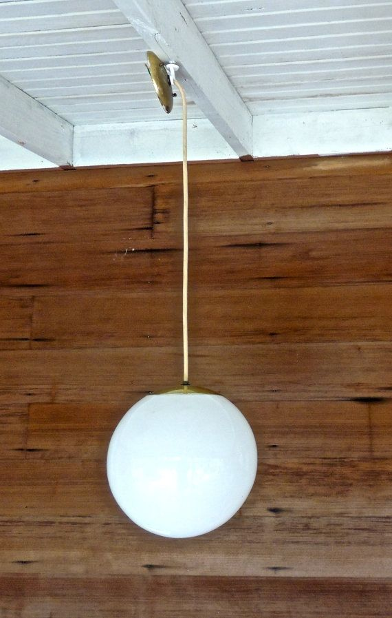 Vintage Globe Pendant Light 1950s 60s Mid Century LARGE By Mkmack