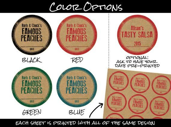 Custom rubber stamp kraft paper canning labels round stickers for mason canning jars or baked goods personalized with your name color text