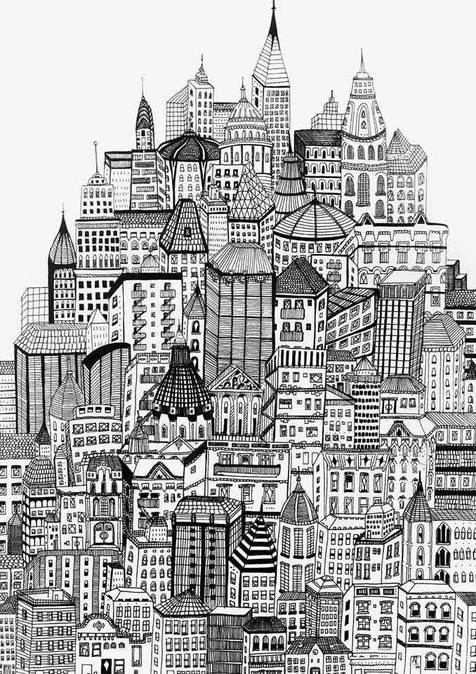 Simple Zentangle Geometric Design Art City Drawing Zentangle Art