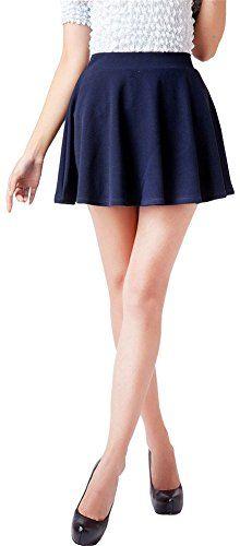Springwell Women Girls Stretch Waist Flared Plain Pleated Casual Mini Skater Skirt one size navy -- Details can be found by clicking on the image.