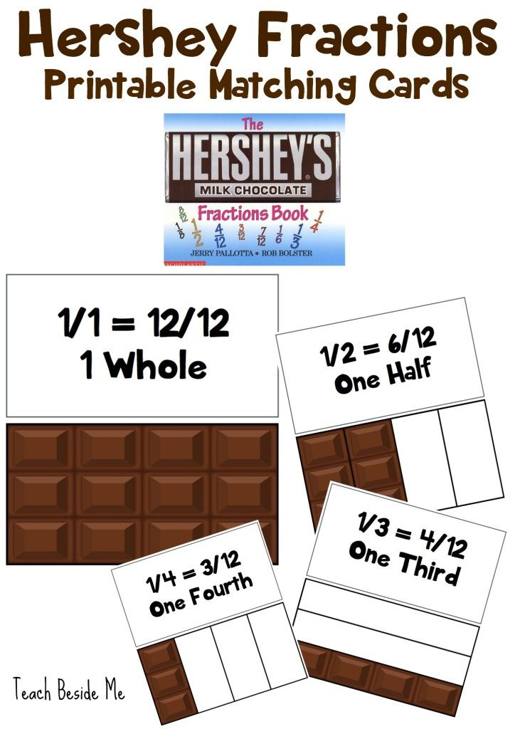 Hershey Fractions Printable Cards   Mathe und Schule