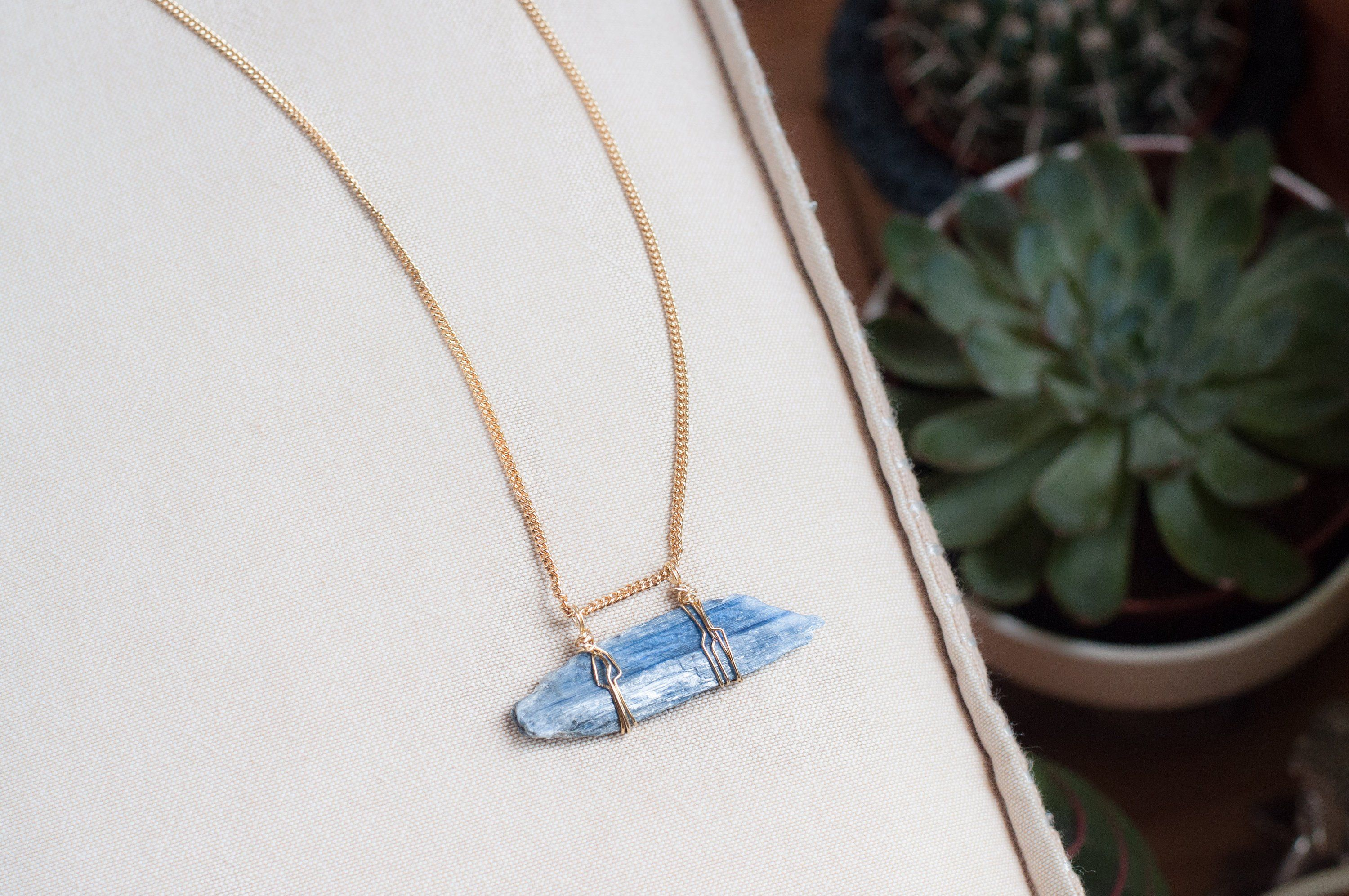 Geometric Gold Necklace Blue Crystal Necklace Stone Jewelry Blue Kyanite Selenite Pendant Boho Chic Crystal Necklace