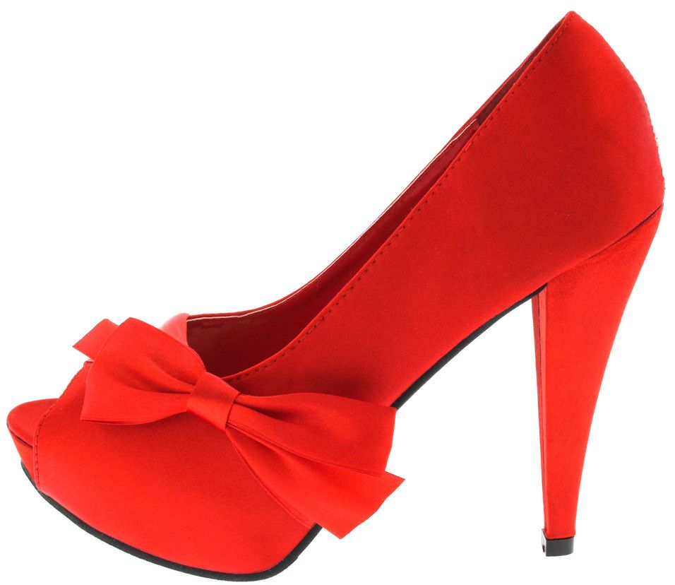 PARISYE RED SATIN BOW ACCENTED HEEL