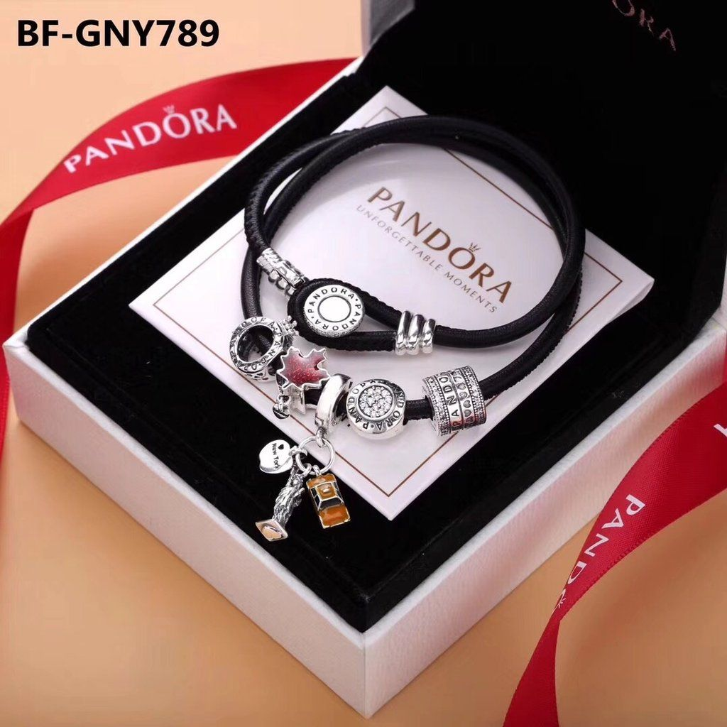 6ae6e17bc New Pandora black double leather bracelet | Pandora | Pandora ...