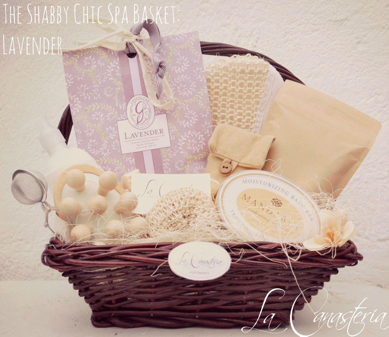 The shabby chic spa basket lavender spa basket spa and - Navidad shabby chic ...