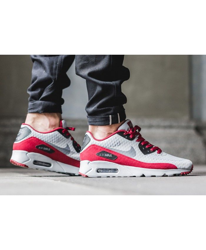 nike air max 90 essential grey red plaid