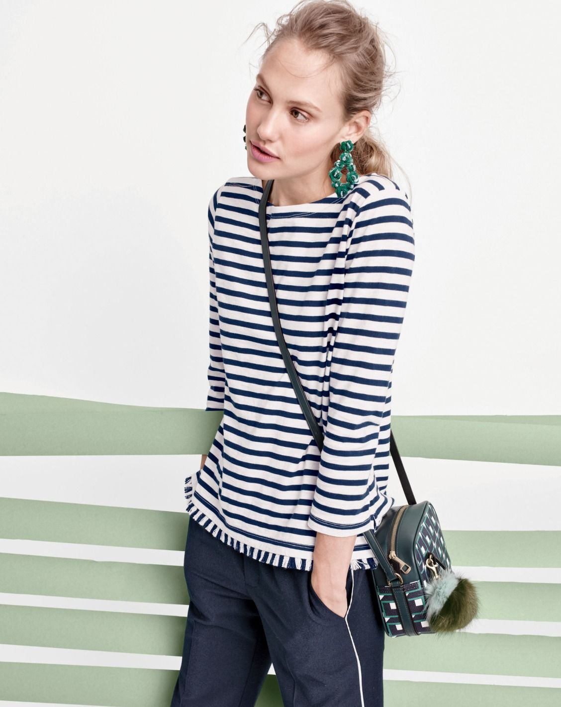 8d7d9a1e544faa J.Crew fringe benefits. A striped boatneck tee with all the trimmings.