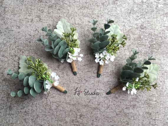 Eucalyptus Boutonniere Wrist Corsage Set Greenery White Men Boutineer Wristlet Rustic Wedding Fake Flower Dusty Miller Faux Buttonhole Decor