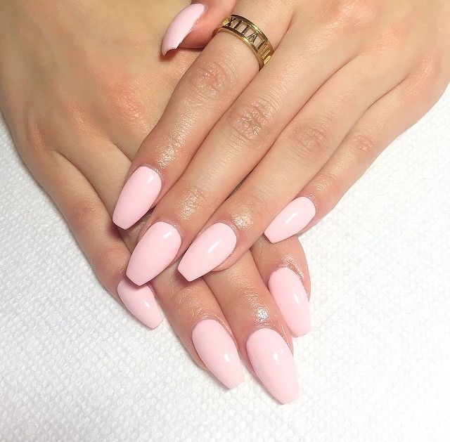 Baby pink coffin nails | nails | Pinterest | Coffin nails ...