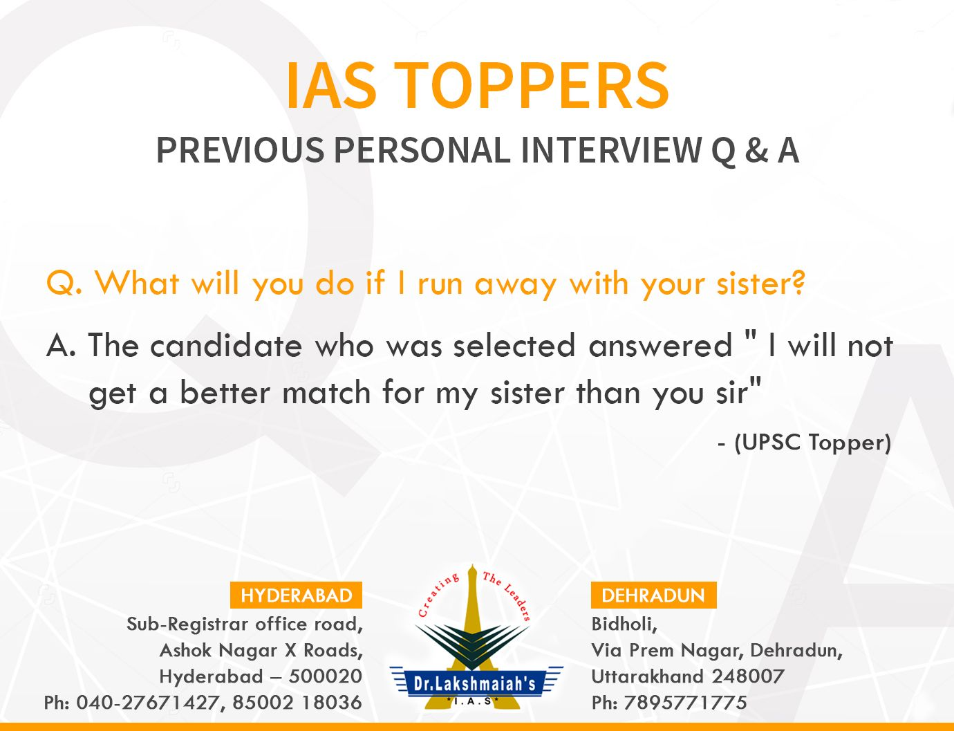 IAS Toppers Previous Personal Interview Q & A. For more