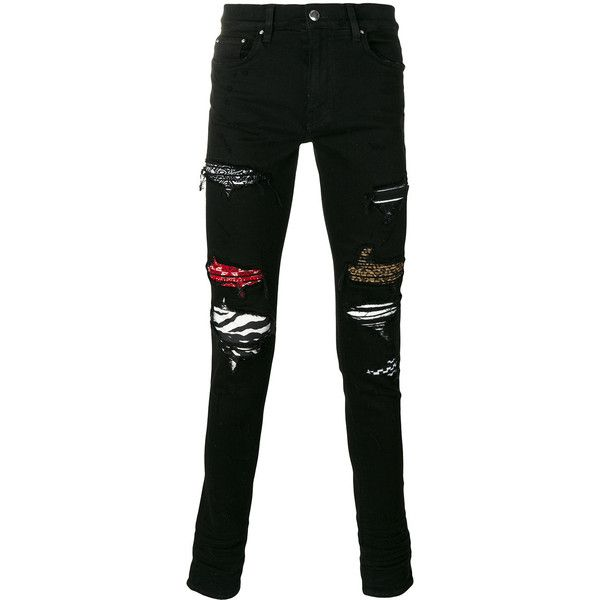 ab6a7cad120 Amiri patched and ripped skinny jeans ($1,350) ❤ liked on Polyvore  featuring men's fashion