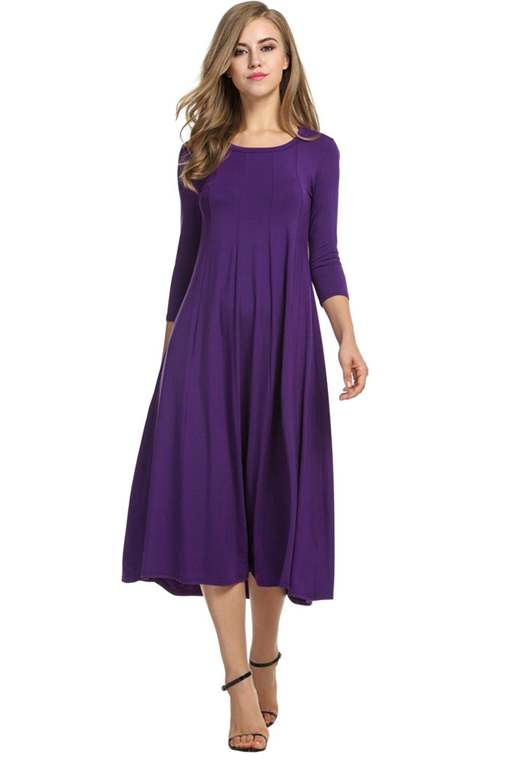 Hotouch Women S 3 4 Sleeve A Line And Flare Midi Long Dress At Amazon Women S Clothing Store Long Midi Dress Vintage Dresses Casual Womens Dresses [ 1500 x 1000 Pixel ]
