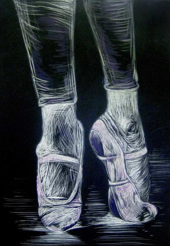 5x7 Scratchboard Ballet slipper art by IlCigno on Etsy ...