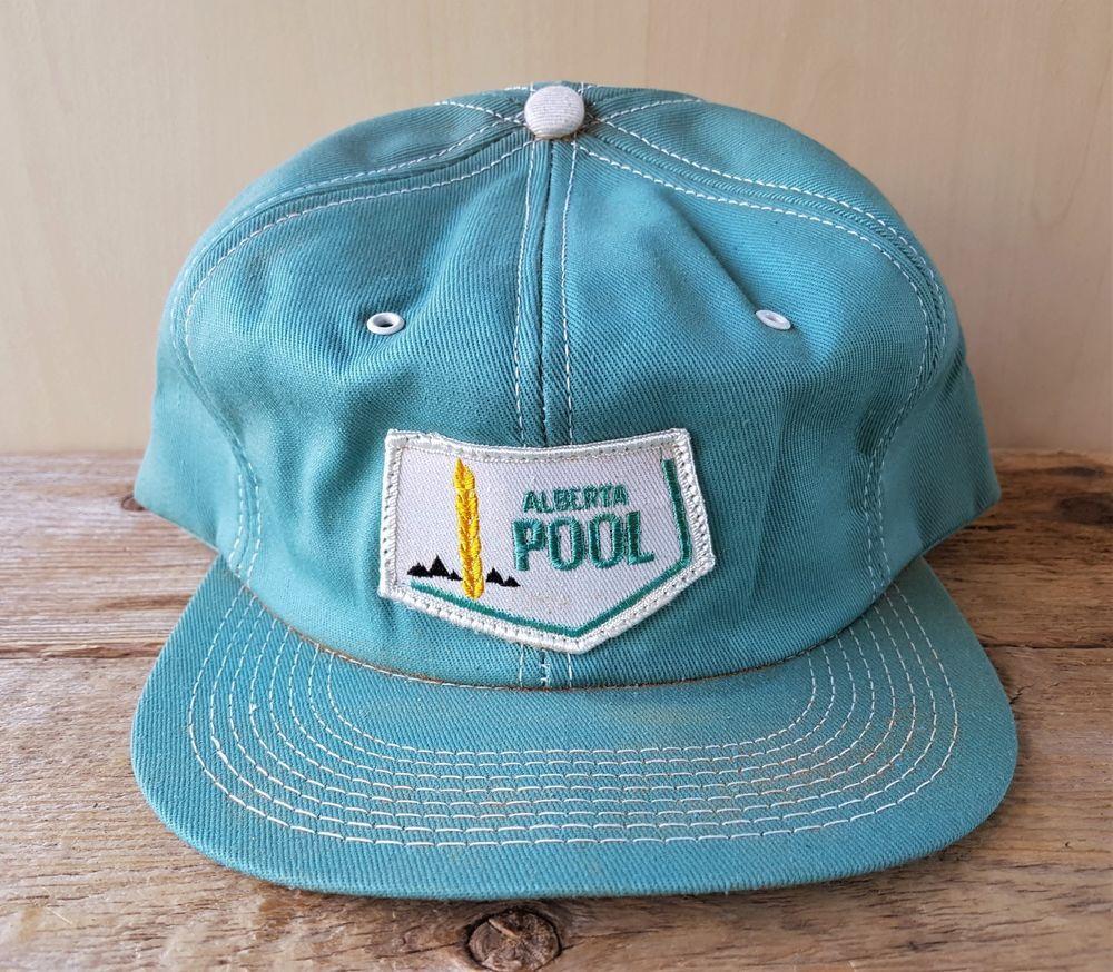 b967e99ece23a Vtg 80s ALBERTA POOL Wheat Farm Green Denim Snapback Hat USA Trucker Cap K- Brand  KBrand  BaseballCap