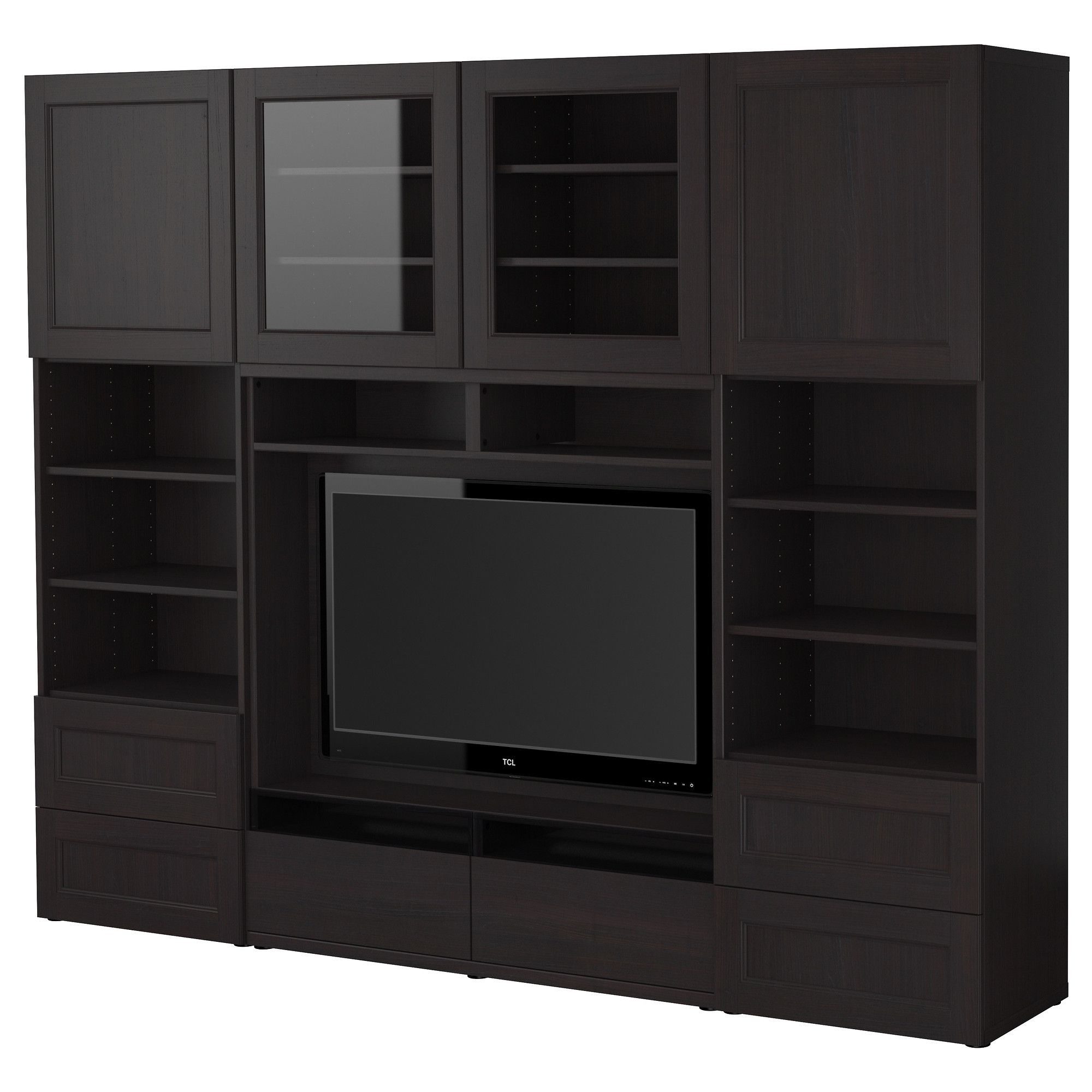 Best Tv Storage Combination Black Brown 240x40x192 Cm Ikea  # Meuble Tv Brun Noir