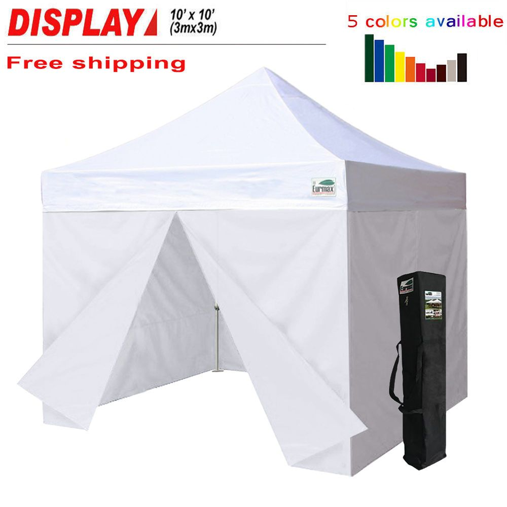10x10 Easy Pop Up Canopy Commercial Outdoor Party Tent 4 Side Walls Carry Bag Eurmax Tent Pop Up Tent Party Tent