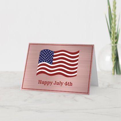 American Flag Rose Gold July 4th Card Zazzle Com Independence Day Card American Flag Vintage Business Cards Template