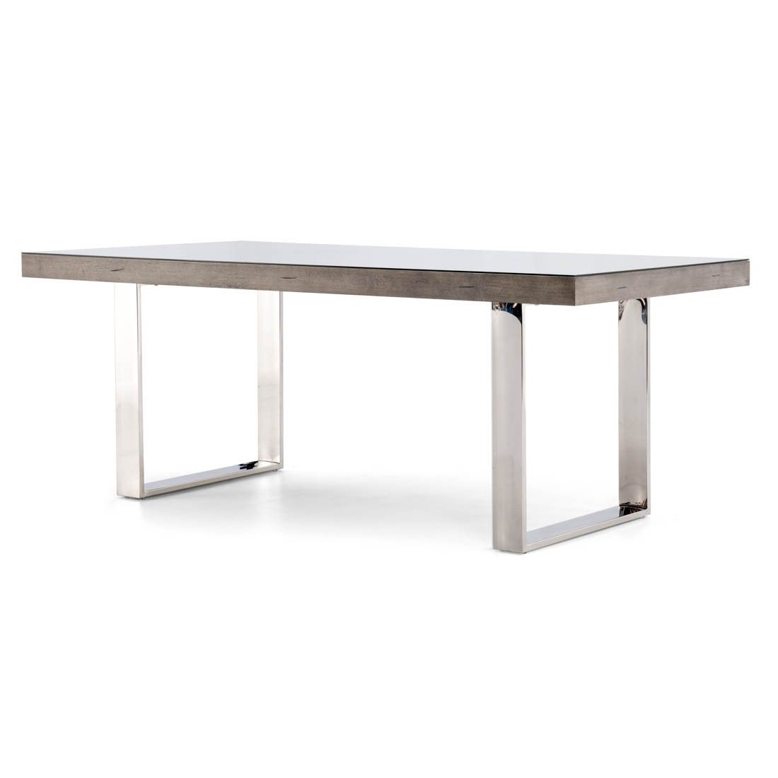 Dining table wood top chrome legs welles mobilia for Mobilia kitchen table