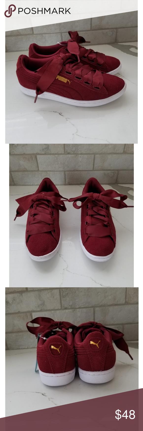 ecc3fc87545e NWT PUMA burgundy ribbon lace suede shoe New...never worn. Still has ...