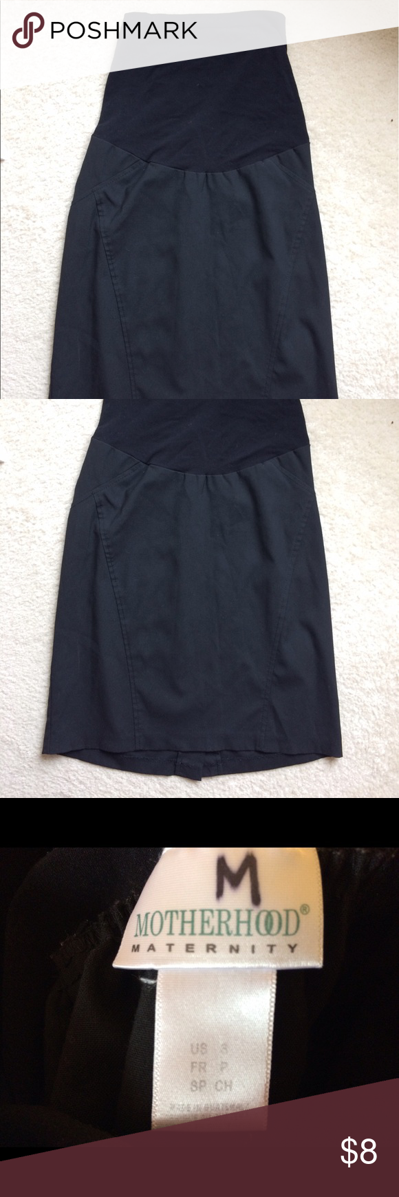 Maternity black skirt Comfy, stretchy full panel maternity skirt. Has small slit in the black. Bundle with other maternity items from my closet and save $ on shipping! Motherhood Maternity Skirts