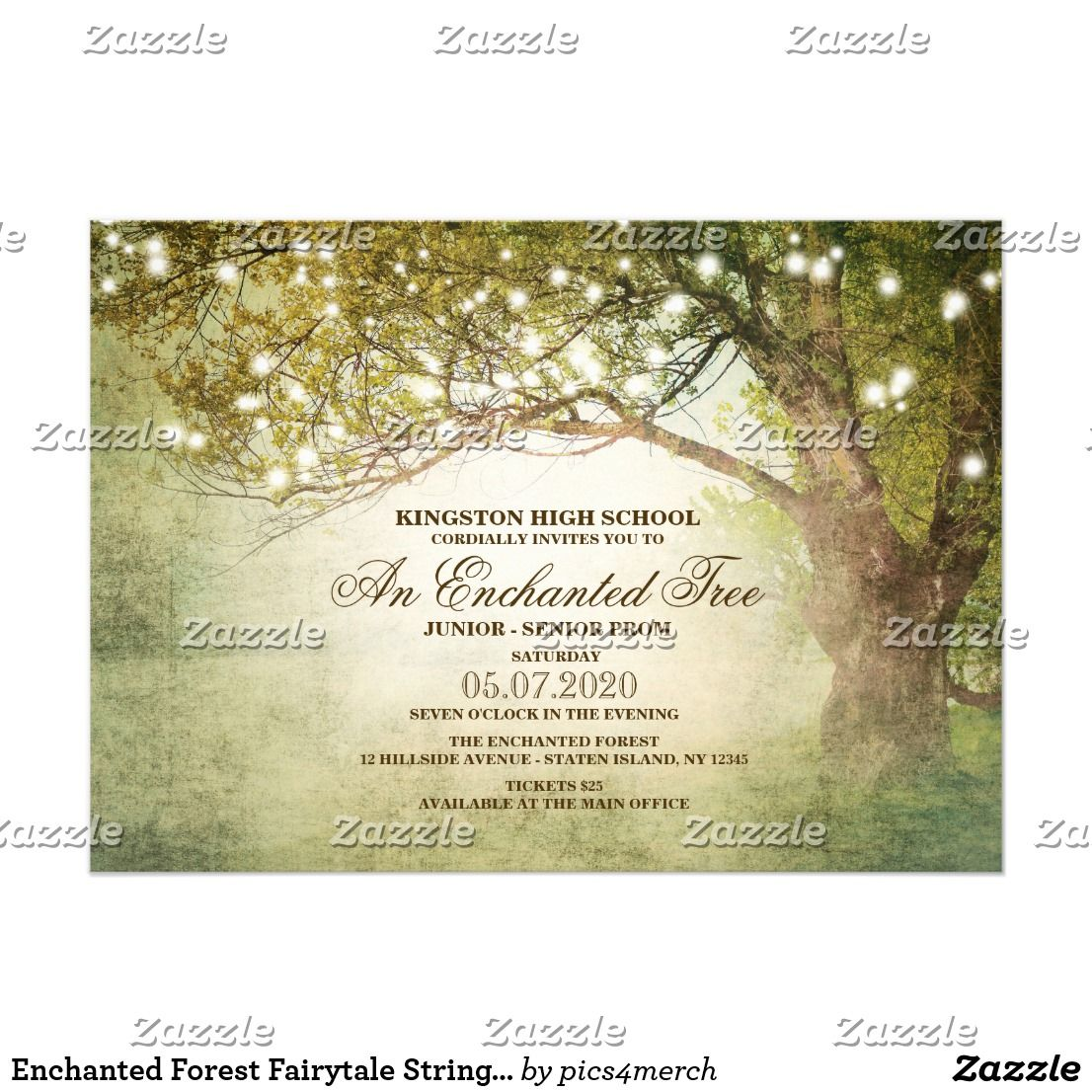 Enchanted Forest Fairytale String Lights Prom Invitation ...
