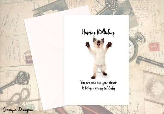 Crazy Cat Lady Birthday Card Themed Cards By JennysDesigns1