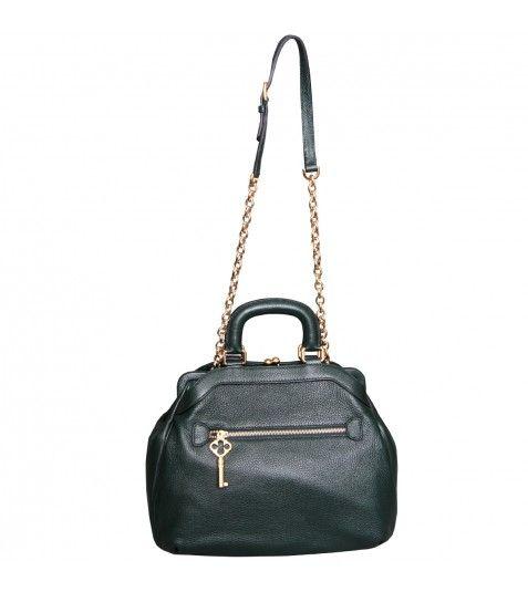 Dolce & Gabbana Bottle Green Textured Leather Handbag