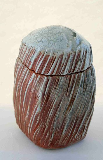 Ceramics by Patricia Shone at Studiopottery.co.uk - 2011. Beaten box 'rain from the west', height 14cm, hand built, wood fired stoneware