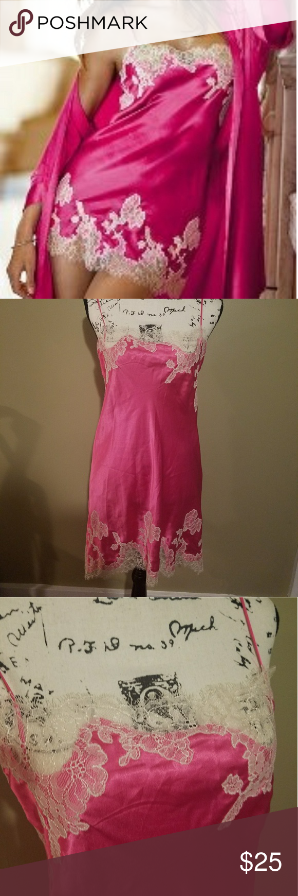 nwt! victoria secret pink satin lace night gown nwt | pink satin