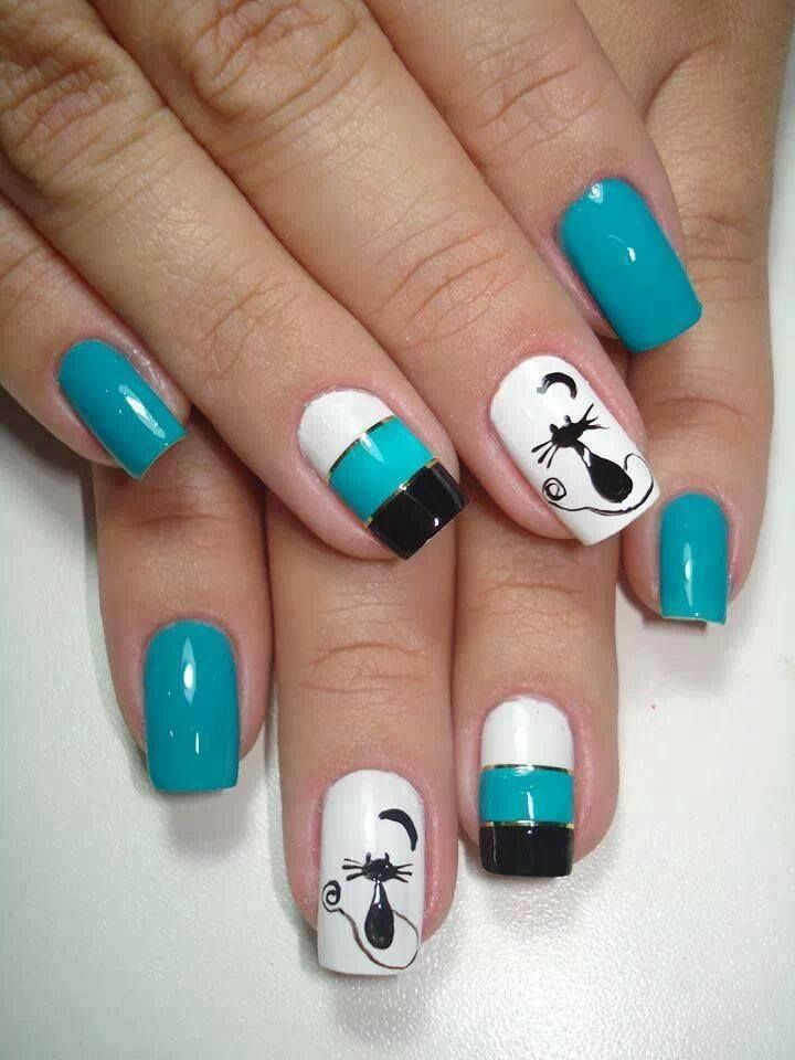 Pin by Luisa Lopez on uñas decoradas | Pinterest | Kitty, Cat nails ...