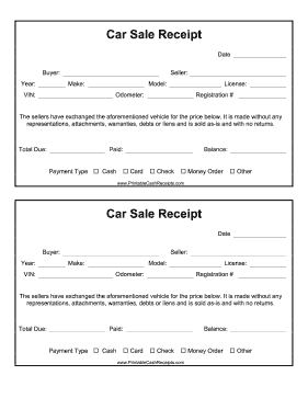 This Printable Car Receipt Is Perfect For Personal Vehicle Sales Free To Download And Print Receipt Car Cars For Sale