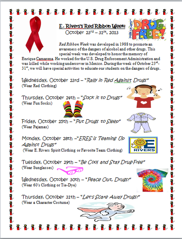 Red ribbon week flyer includes rationale dress up spirit for Nurses week flyer templates
