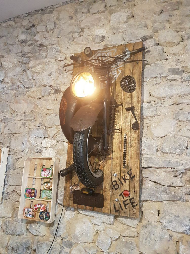 Amazing Wall Lamps Made With Recycled Motorbike Parts Id Lights Recycled Lamp Wall Lamp Contemporary Wall Lamp