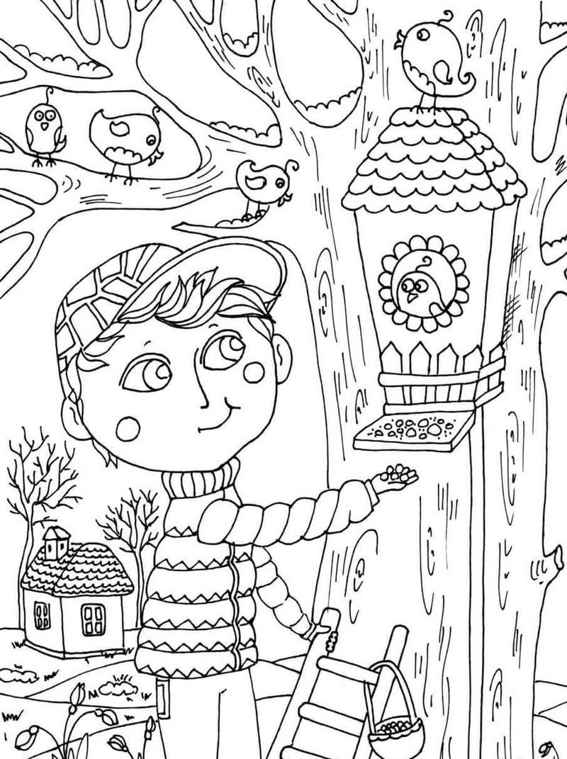 Feeding Birds In April Coloring Page With Images March Colors Spring Coloring Pages Bunny Coloring Pages
